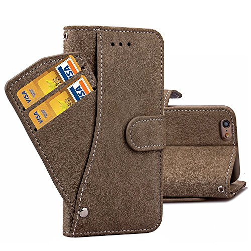 Ranipobo Case for iPhone 6/ 6s Suede Leather Layered Card Holder Snap Fastener & Wallet Photo Slot Magnetic Clip with TPU Inner Cover 4.7