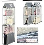 Amovible 6 Compartiment Organiseur Pochette à suspendre Organiseur de sac à main Sac Collection de stockage l'Armoire Système organiseurs pour salon Chambre à coucher l'utilisation gris