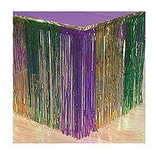 Fun Express Mardi Gras Metallic Fringe Table Skirt