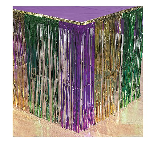 Fun Express Mardi Gras Metallic Fringe Table Skirt ()