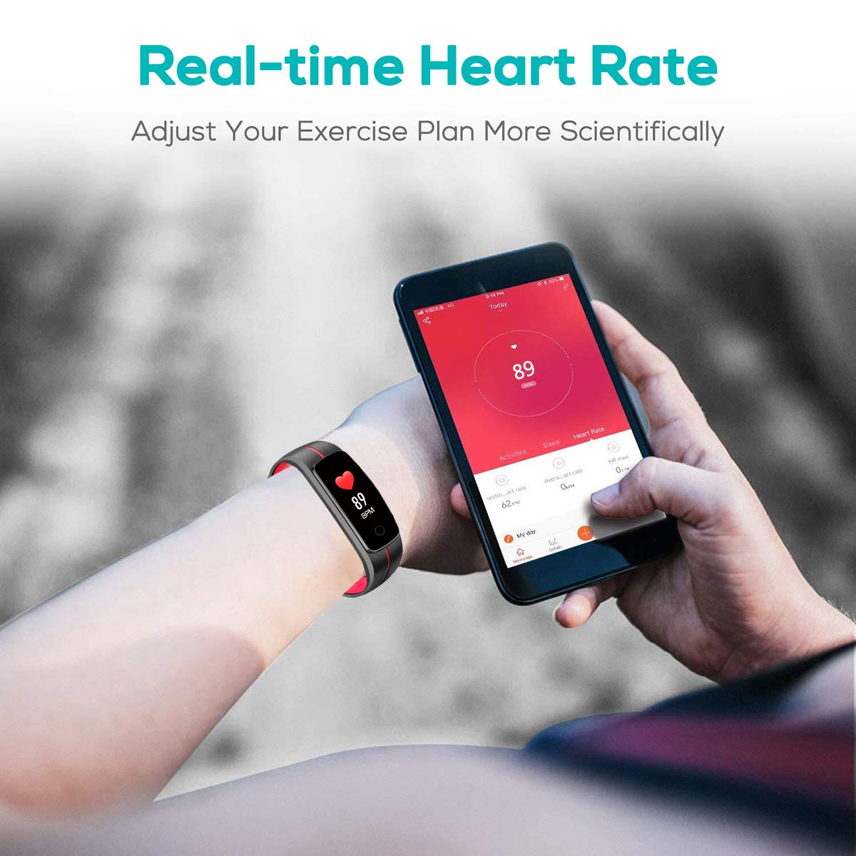 CHEREEKI Montre Connectée, Podomètre Bracelet Connecté Etanche IP68 Cardiofréquencemètre Stopwatch Contrôle de La Musique Smart Watch Cardio Fitness Tracker d\'Activité pour Femme Homme Enfant