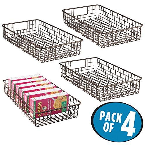mDesign Wire Storage Basket for Kitchen, Pantry, Cabinet - Pack of 4, Slim, Bronze (Bronze Wire Basket)