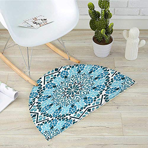 Moroccan Semicircular CushionMoroccan Architecture Consists of Geometrically Patterned Mosaic and Stars Eastern Entry Door Mat H 39.3