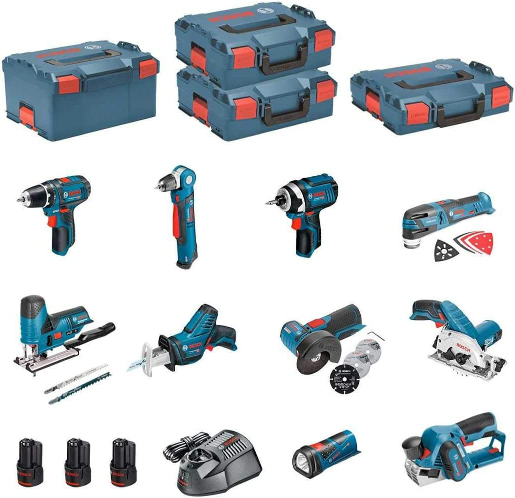 BOSCH Kit 12V BMK10-28DD3 (GSR 12V-15 + GDR 12V-105 + GKS 12V-26 + GWS 12V-76 + GST 12V-70 + GOP 12V-28 + GSA 12V-14 + GWB 12V-10 + GLI 12V-80 + GHO 12V-20): Amazon.es: Bricolaje y herramientas