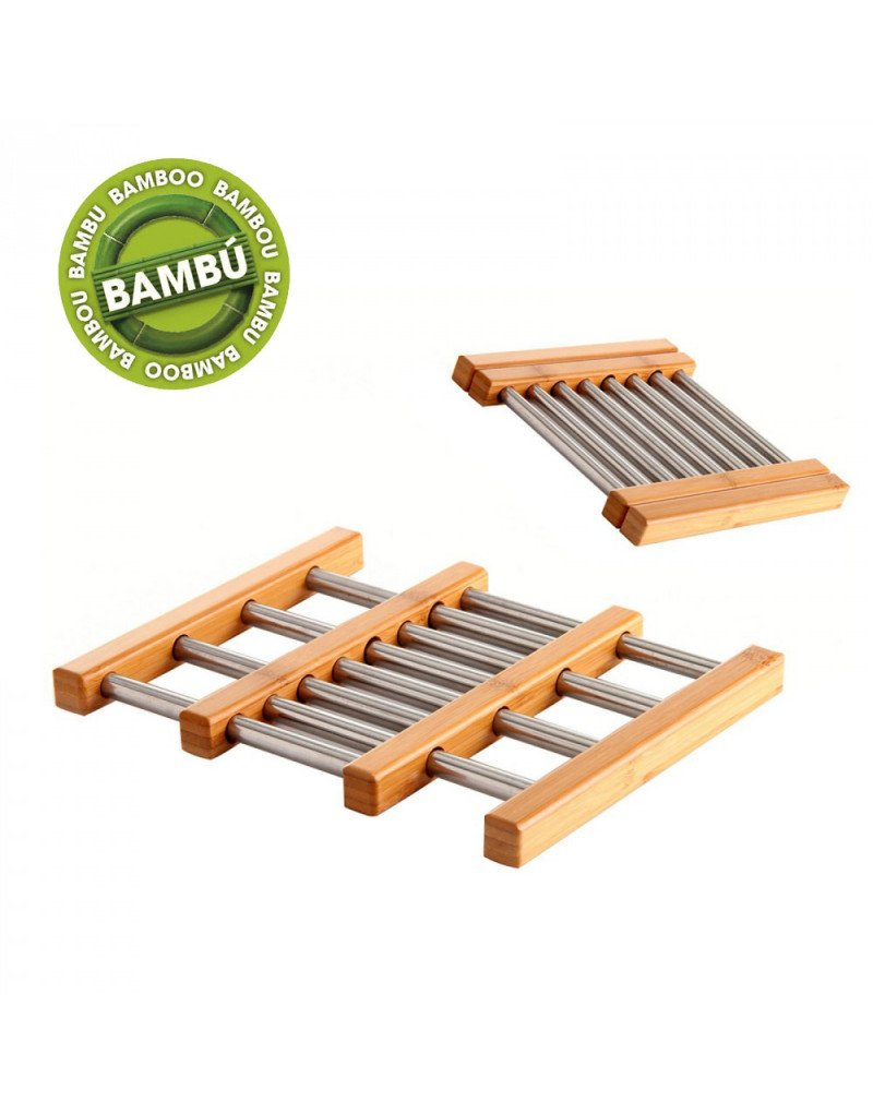 Salvamantel Individual de Bamb/ú y Acero Inoxidable Plegable segun Necesidad Medida: 21x22x2 cm Hogar y Mas.