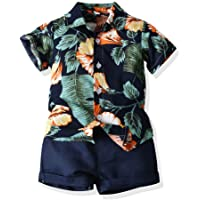 JunNeng Toddler Baby Boy Shorts Sets Hawaiian Outfit,Infant Kid Leave Floral Short Sleeve Shirt Top+Shorts Suits Navy Blue