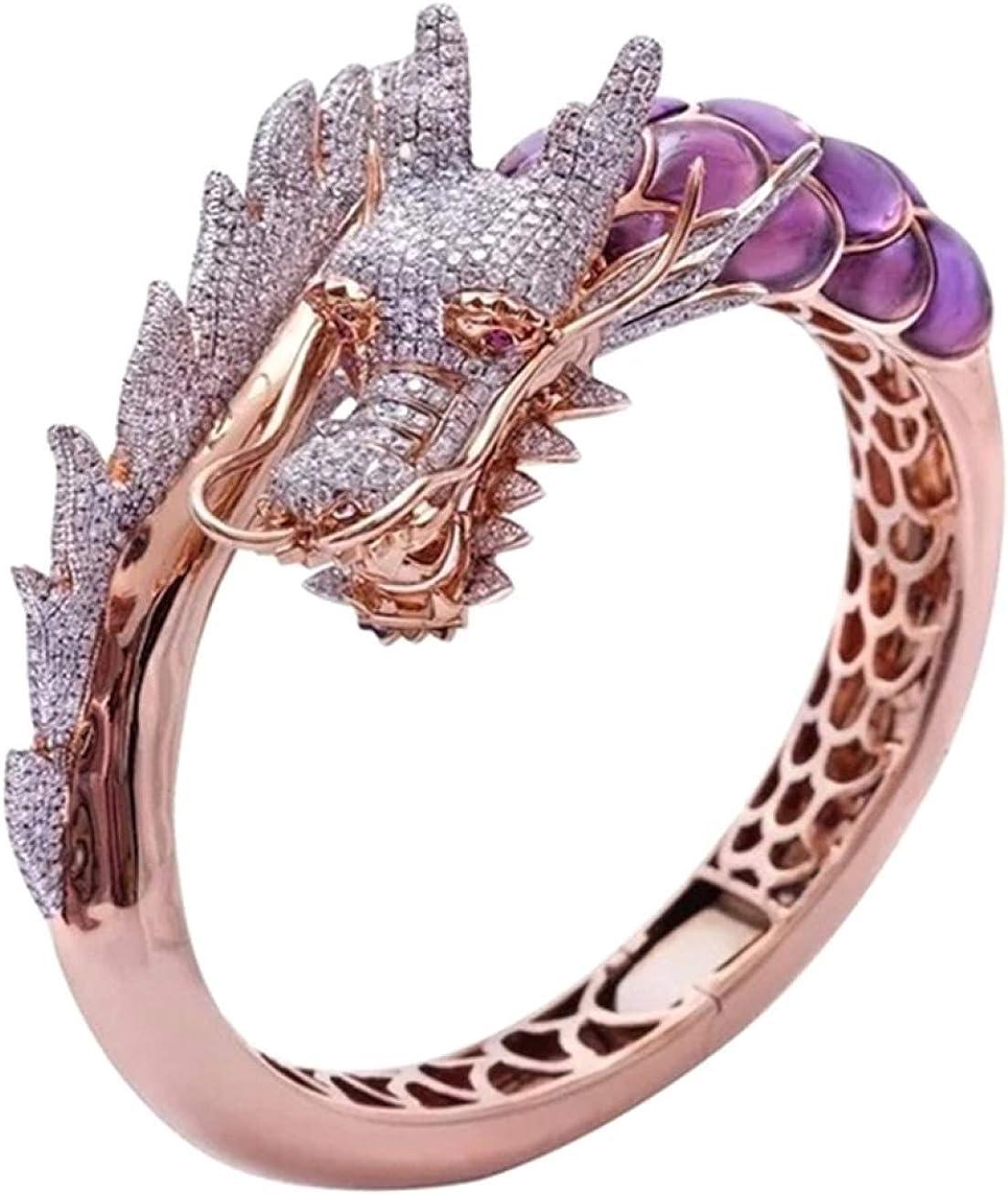arret Middleton - Anillo de oro rosa de 14 quilates con piedra natural para boda, regalo de cumpleaños, diseño de dragón hip hop, talla 5-10 (Ninguno 8 GD)