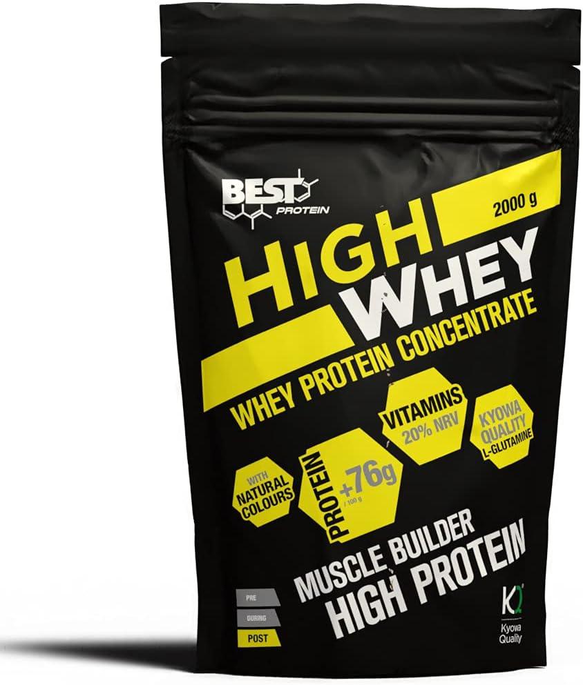 Best Protein High Whey. Proteína en polvo con Glutamina y Aminoácidos Naturales. Sabor Chocolate. 2000g