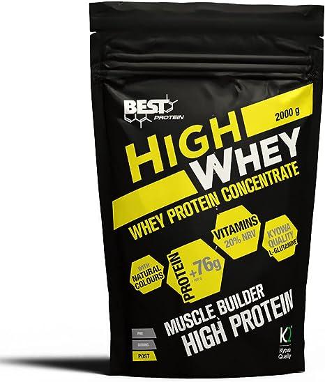Best Protein High Whey. Proteína en polvo con Glutamina y Aminoácidos Naturales. Sabor Fresa. 2000g