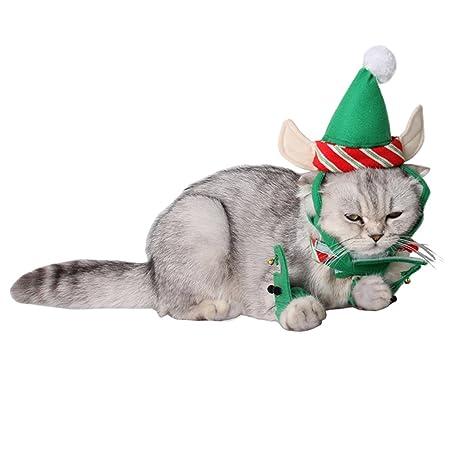 Disfraces de Navidad de Gato, Legendog 3 Piezas de Navidad Traje de Gatito Sombrero Cuello