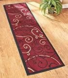 23'' x 120'' Extra Long Decorative Runner Rug Mat Burgundy Scroll NEW --P#EWT43 65234R3FA526504