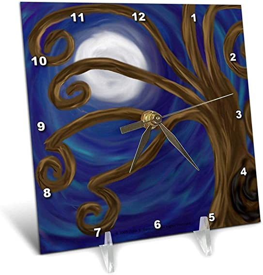 3dRose dc_23195_1 Spiral Tree Abstract Moon Night Digital Art-Desk Clock, 6 by 6-Inch