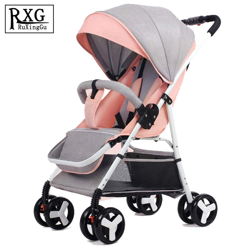 0-3 Years Old Baby Stroller Ultra Light Portable can sit Reclining Folding Trolley Baby Umbrella high Landscape Baby Stroller Blue