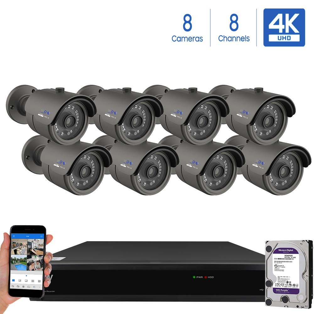 GW Security Cameras System 8CH 3840×2160 HD-TVI 4K CCTV DVR Recorder 2TB HDD with 8 Weatherproof 3840TVL 8.0MP 100ft Night Vision UltraHD 4K Bullet Surveillance Cameras, Email Alert with Snapshot