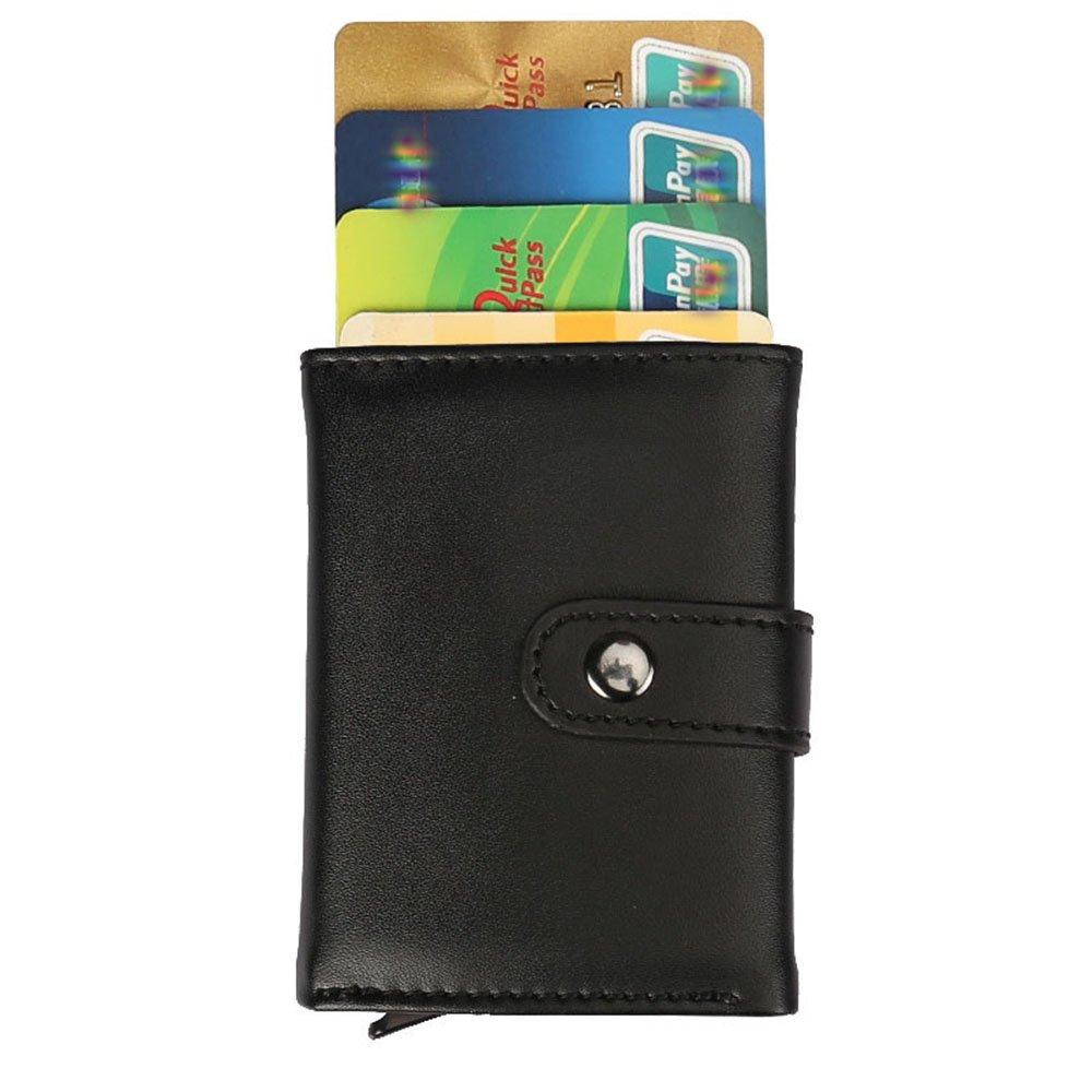 Jxth Monedero Delgado con Cremallera Regalos de Cuero antirrobo Caja de Aluminio Monedero pequeño Paquete de Tarjeta de Cepillo Money Pouch Card Holder ...
