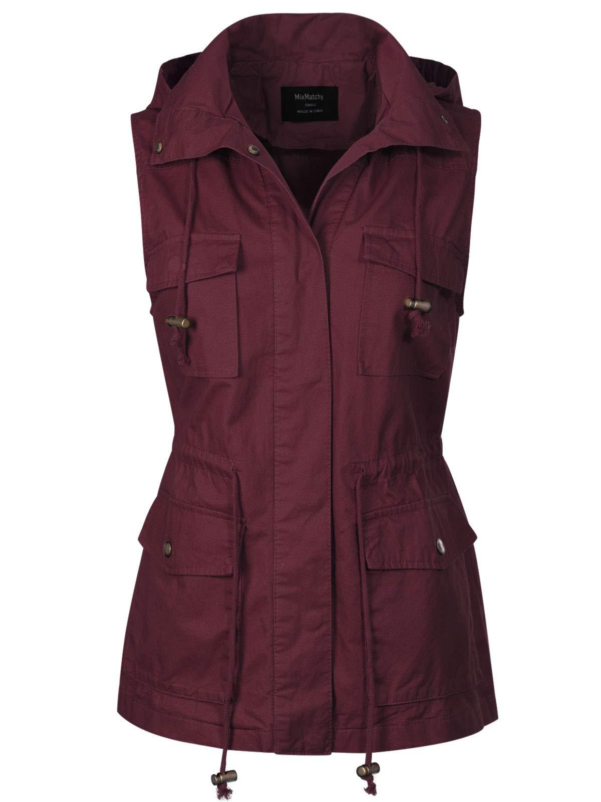 MixMatchy Women's Drawstring Lightweight Loose Fit Sleeveless Vest Utility Jacket Wine XL by MixMatchy