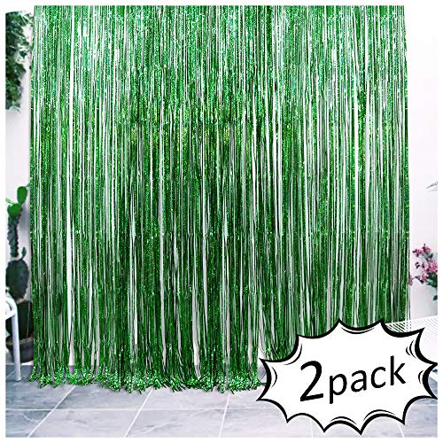 Iridescent Foil Fringe Curtains Jungle Theme Party Supplies Birthday Wedding Party Window Door Decorations Fun Photo Booth Backdeop Props(2 packs, (W)3.28*(H)6.56 Ft, Green)]()