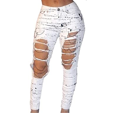 94d216f7e4e VICVIK Women White Knee Skinny Denim Distressed Ripped Jeans at ...