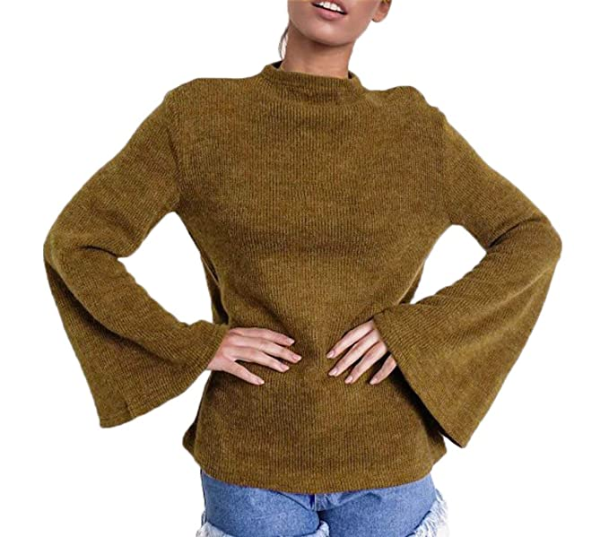 JackenLOVE Otoño y Invierno Jerséis Mujeres Casual Sweaters Jumper Blusa Moda Cuerno Manga Suéter Pullover Tops