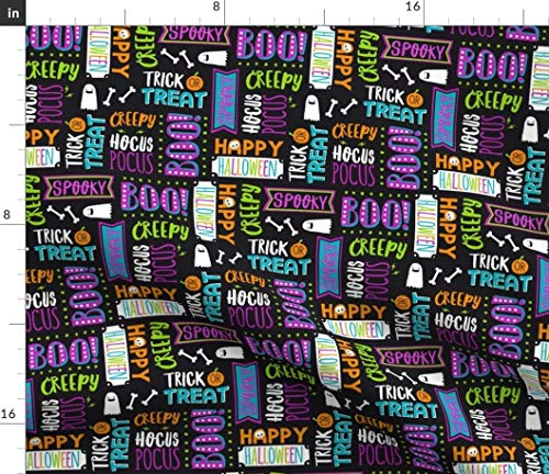 Halloween Fabric - Happy Halloween Boo Trick Or Treat Kids Halloween Wording Trick Or Treat Boo Creepy Spooky Text by Lizmytinger Printed on Petal Signature Cotton Fabric by The Yard]()