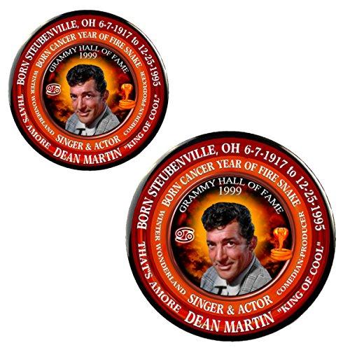 """Dean Martin Singer 3"""" Magnet + 2.25"""" Pin, Astrology Cancer Zodiac Fire Snake"""