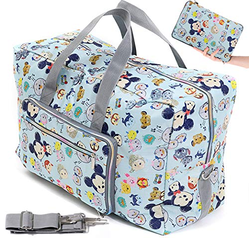 Fordicher Women Nylon Foldable Large Travel Duffel Bag Travel Tote Luggage Bag with Detachable Shoulder Straps for Vacation (Blue Mouse)