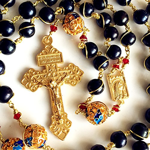 elegantmedical HANDMADE plated 14K gold Wire Wraped Bead AAA Black 10mm Pearl Rosary Cross NECKLACE BOX by elegantmedical (Image #4)