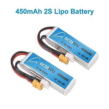 BETAFPV 2pcs 450mAh 2S 80C Lipo Battery with XT30 Plug for Doinker ...