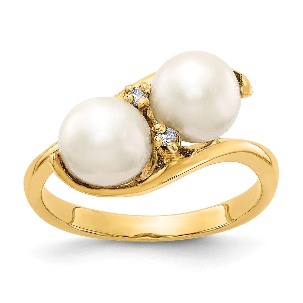 VS2 clarity, G-I color Jewelry Adviser Rings 14k 6mm FW Cultured Pearl VS Diamond ring Diamond quality VS