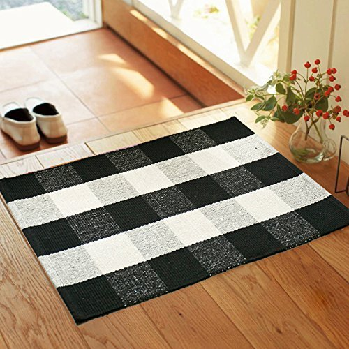 (QANAHOME Cotton Bath Runner Checkered Plaid Area Rug Door Mat for Entry Way Washable Carpet for Kitchen (18