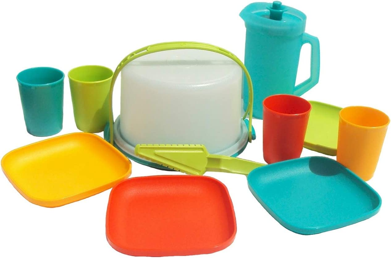 Tupperware Childrens Mini Party Serving Set Play Toy Plates Cups Pitcher Cake Taker