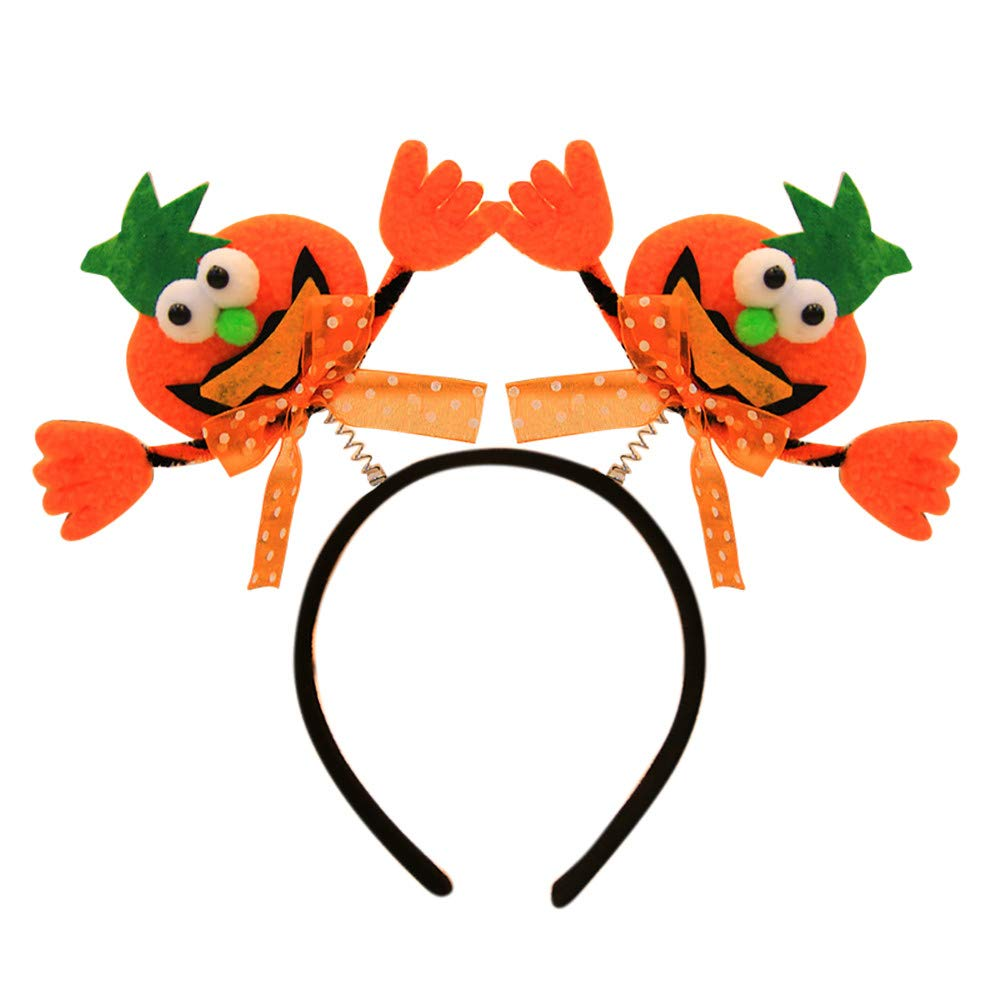 XGao LED Cute Halloween Headband A Headbands Pumpkin Hoop Stretch Headdress Hats Decorative for Kids Girls Boys Adults Women Party Decor Luminous Spring Clasp Hair Band Head Hoops