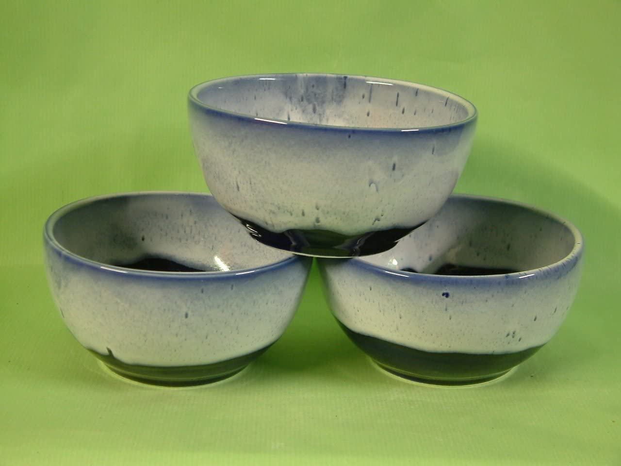Set of 3 Bowls Glazed in Cobalt Blue with White Rim Ideal for Cereal Soup Fruit ext