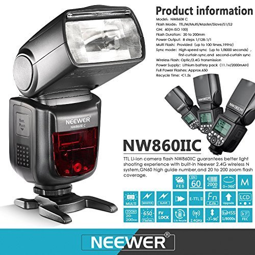 Neewer 2.4G Wireless 1/8000 HSS TTL Master/Slave Flash Speedlite for Canon DSLR Camera with 2000mAh Li-ion Battery to Provide 650 flashes Recycle in 1.5s NW860IIC by Neewer