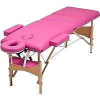 Mecor Table de massage pliante Professionnelle Cosmétique 3 zones pliables Pieds en Bois Hauteur Réglable pour Thérapie/SPA avec Housse de Transport diverses couleurs au choix (Rose)