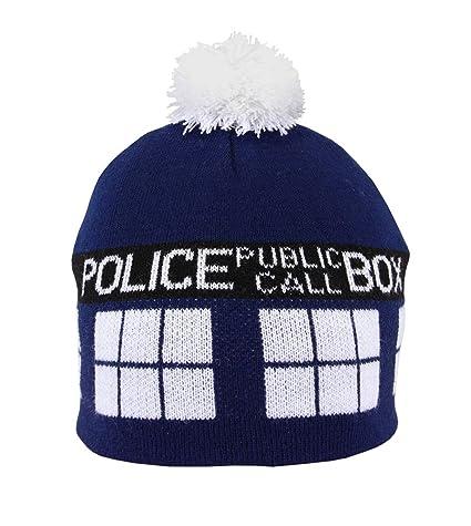 1d2ccd94d59 Amazon.com  elope Dr. Who TARDIS Knit Pom Beanie  Clothing
