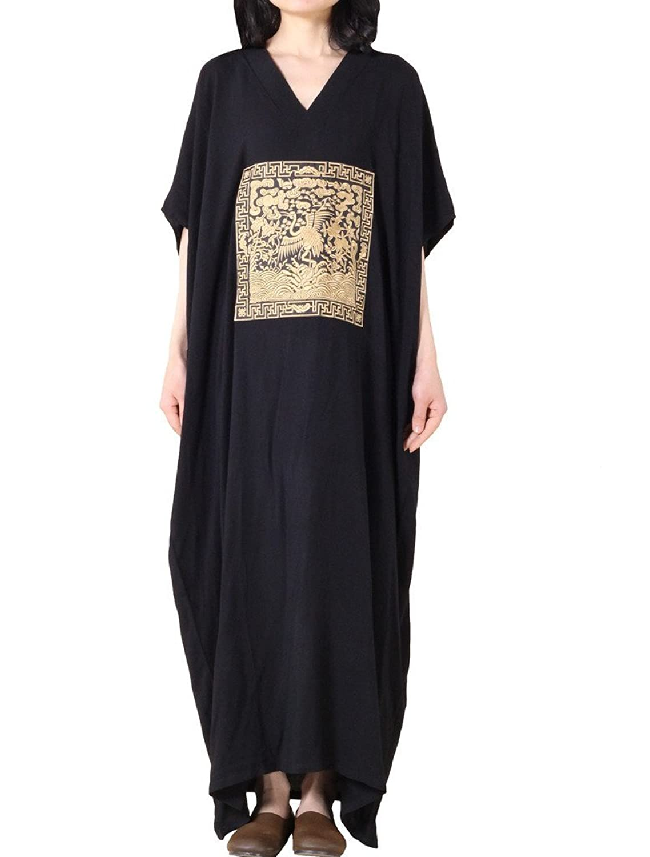 MatchLife Damen Embroidery V-Ausschnitt Batwing Plus Size Kleider