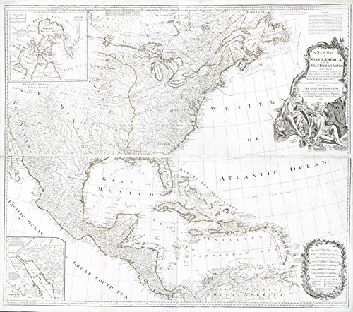 Historic 1783-08-15 Map | A new map of North America with the West India Islands : divided | Antique Vintage Map Reproduction