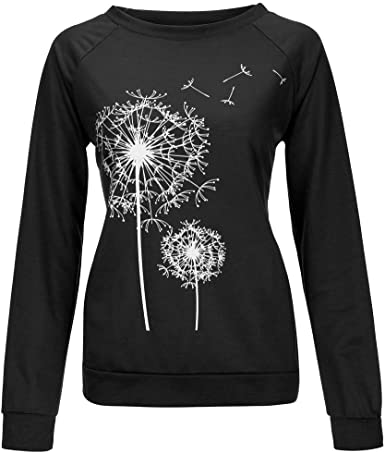 Graphic Long Sleeve Tees for Women F/_Gotal Womens Long Sleeve Tee Shirt Crew Neck Dandelion Tunic Tops Fall T-Shirt Top