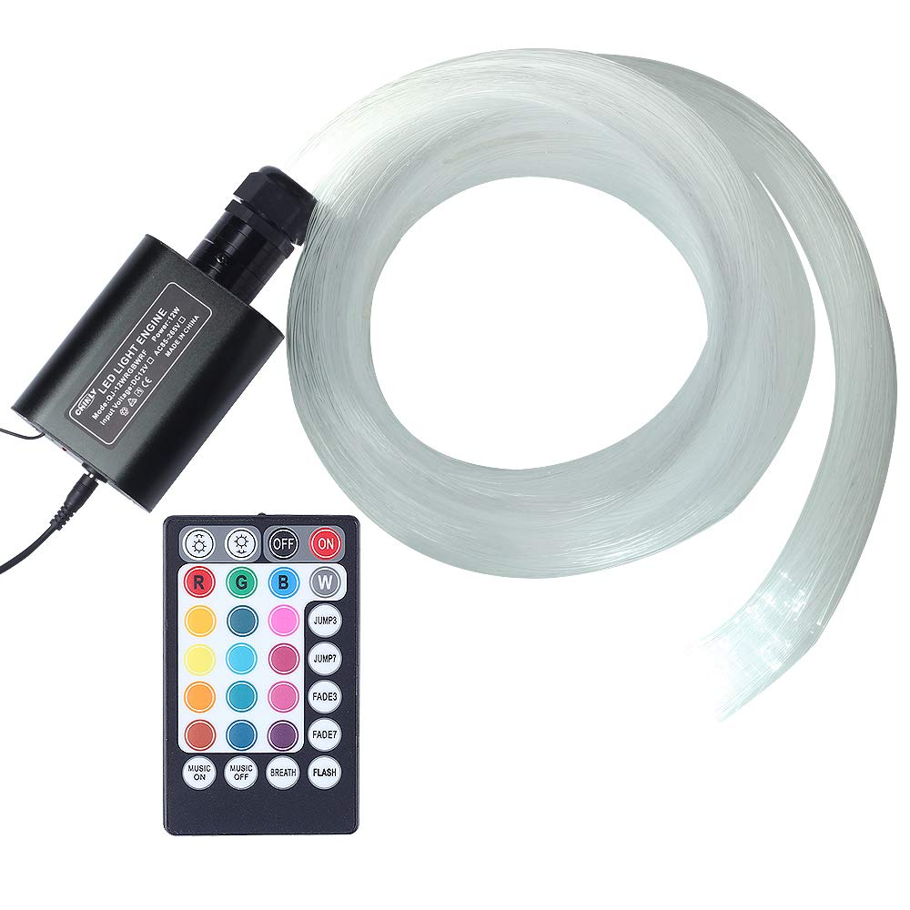 Car use 12W RGBW Remote Music Mode LED Fiber Optic Star Ceiling kit, Mixed 295 Strands 9.8ft Long, 0.03in+0.04in+0.06in