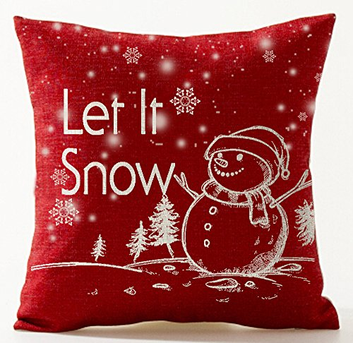 (Andreannie Happy Winter Blessing Let It Snow Various Beautiful Snowflakes Snowman Christmas Tree in Red Cotton Linen Throw Pillow Case Cushion Cover Home Office Decorative Square 18 X 18 Inches)