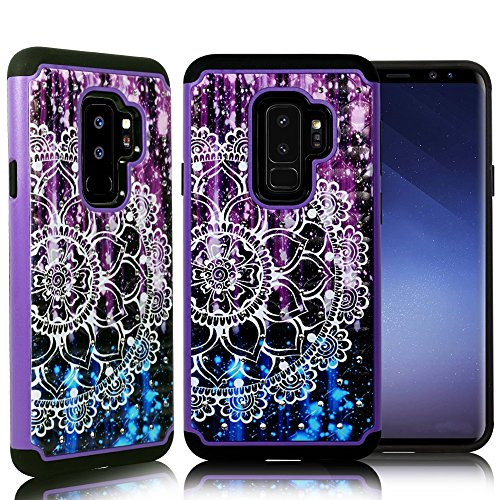 ZASE Case Compatible Samsung Galaxy S9+ Plus, Galaxy S9 Plus Case Dual Layer Protection [Jewel Rhinestone] Shockproof Slim Hard Shell Sparkly Crystal [Bling Diamond] (Purple Blue Mandala Flower)