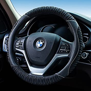 HONCENMAX Vehicle Steering Wheel Cover Quality Comfy Car Steering Wheel Protector Universal Diameter 38cm Easy Installation 15 Genuine Leather Black