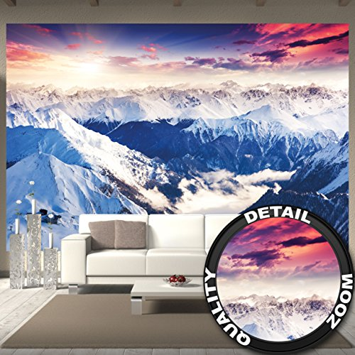 Landscape Panorama (GREAT ART Wallpaper Alps Panorama - Winter Sunset Wall Decoration Snow Landscape Nature Mountains Poster (132.3 x 93.7 Inch/336 x 238 cm))