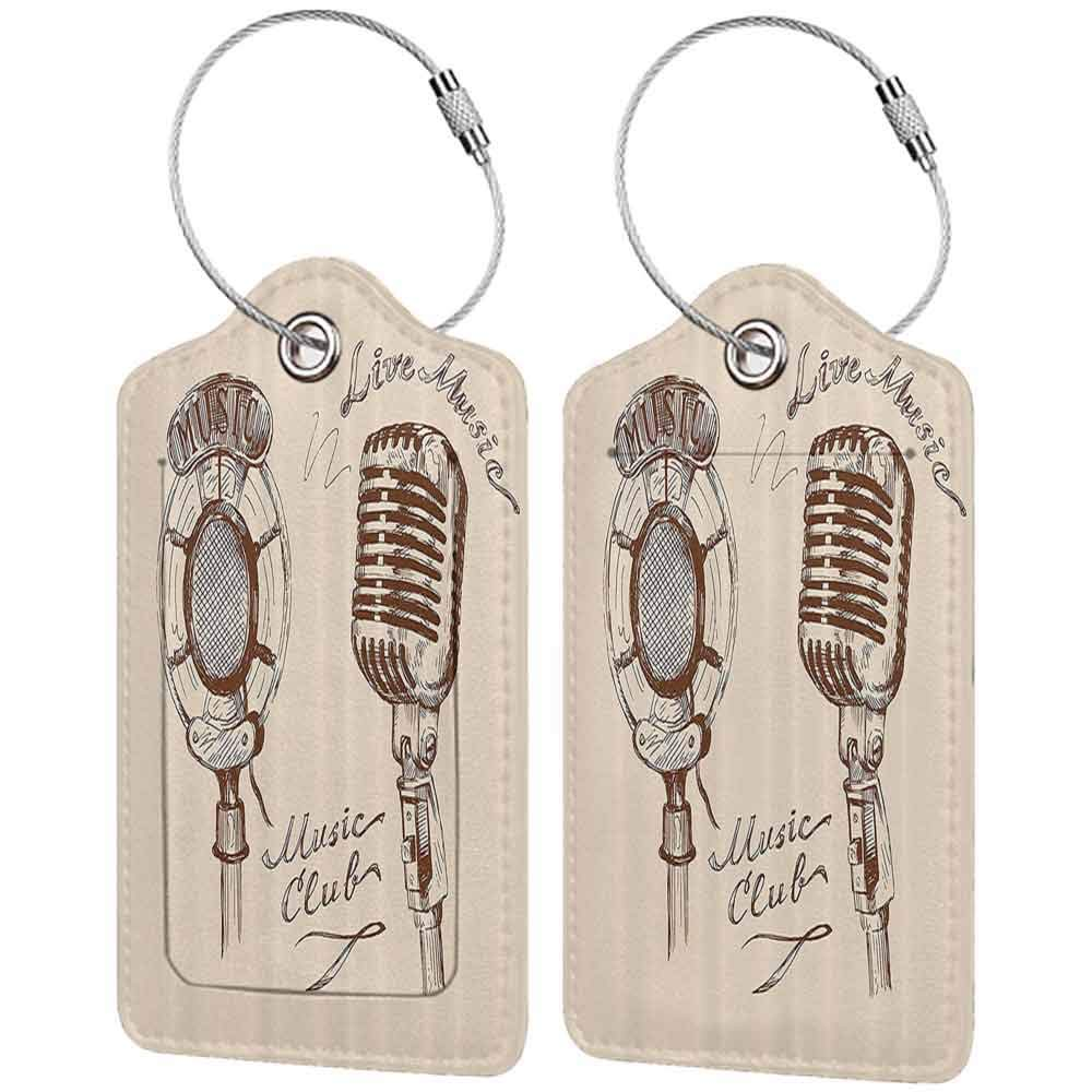 Multicolor luggage tag Jazz Music Decor Old Fashioned Doodles With Waves And Vintage Microphone Print Retro Style Boho Decor Hanging on the suitcase Brown Ecru W2.7 x L4.6