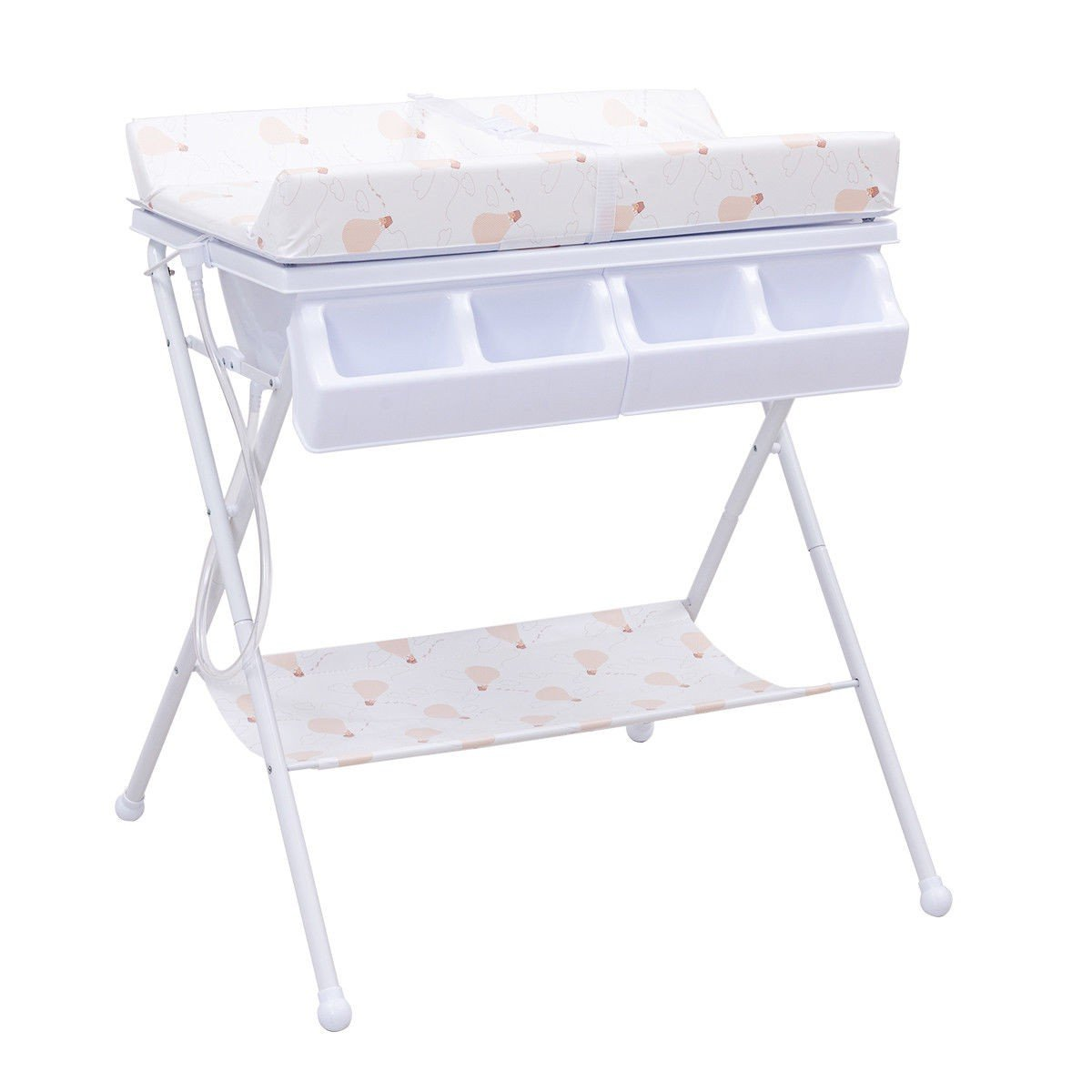 MD Group Baby Changing Table Foldable Steel White Cushioned Infant Bath Diaper Storage