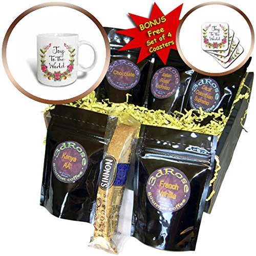 3dRose Anne Marie Baugh - Christmas - Pretty Poinsettia and Holly Berry Wreath With Joy To The World - Coffee Gift Baskets - Coffee Gift Basket (cgb_266735_1) -