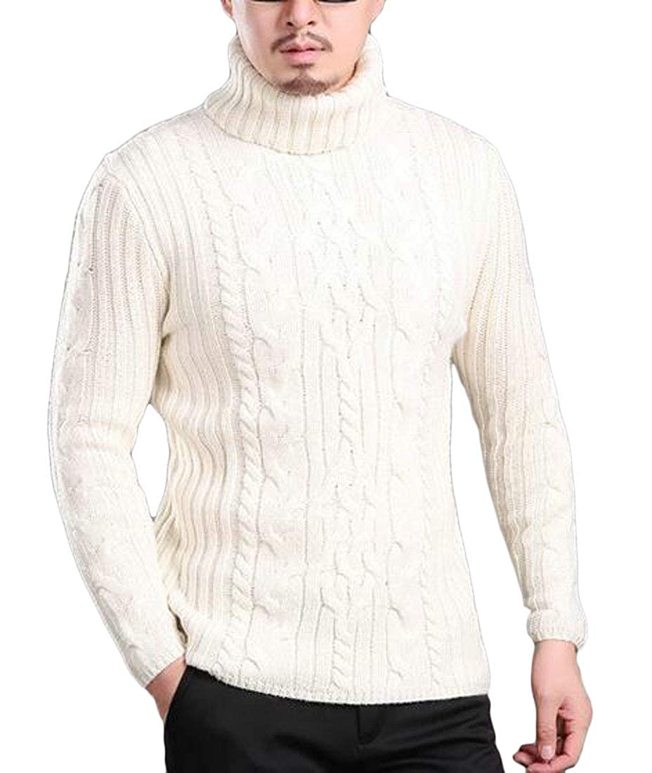 EJLJ Men Turtleneck Slim Pullover Wool-Blend Knit Thermal Stretch Sweater