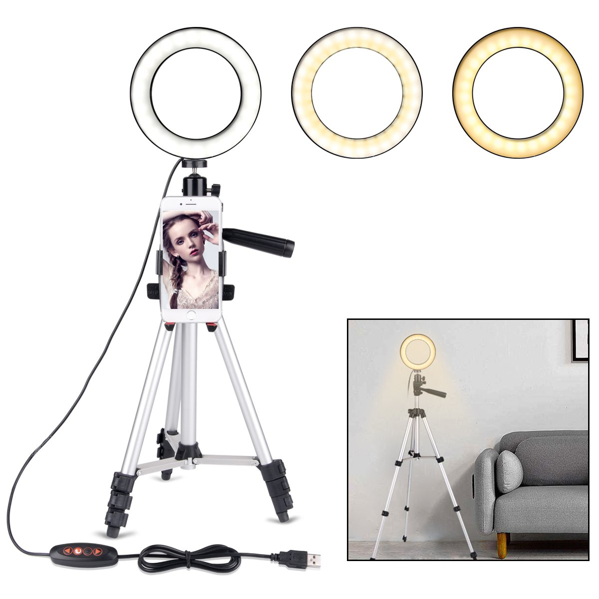"B-Land 5.7"" Ring Light with Desktop Stand for YouTube Video and Makeup, Mini LED Camera Light with Cell Phone Holder Table Top LED Lamp with 3 Light Modes & 11 Brightness Level BLD128"