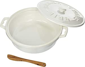 Christina Home Designs Brie Baker with Lid, White Stoneware, Recipes Included – 3 Piece Baking Dish Set, Base with Handles, Lid, Wooden Cheese Spoon, Microwave and Dishwasher Safe